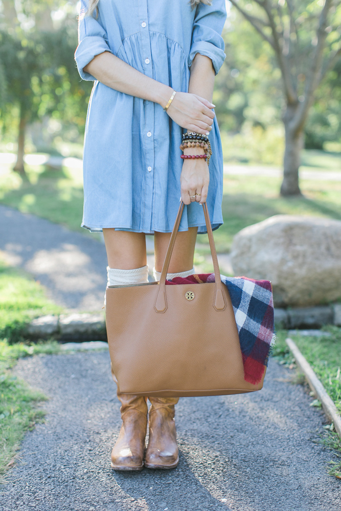 Chambray Dress and Plaid Blanket Scarf