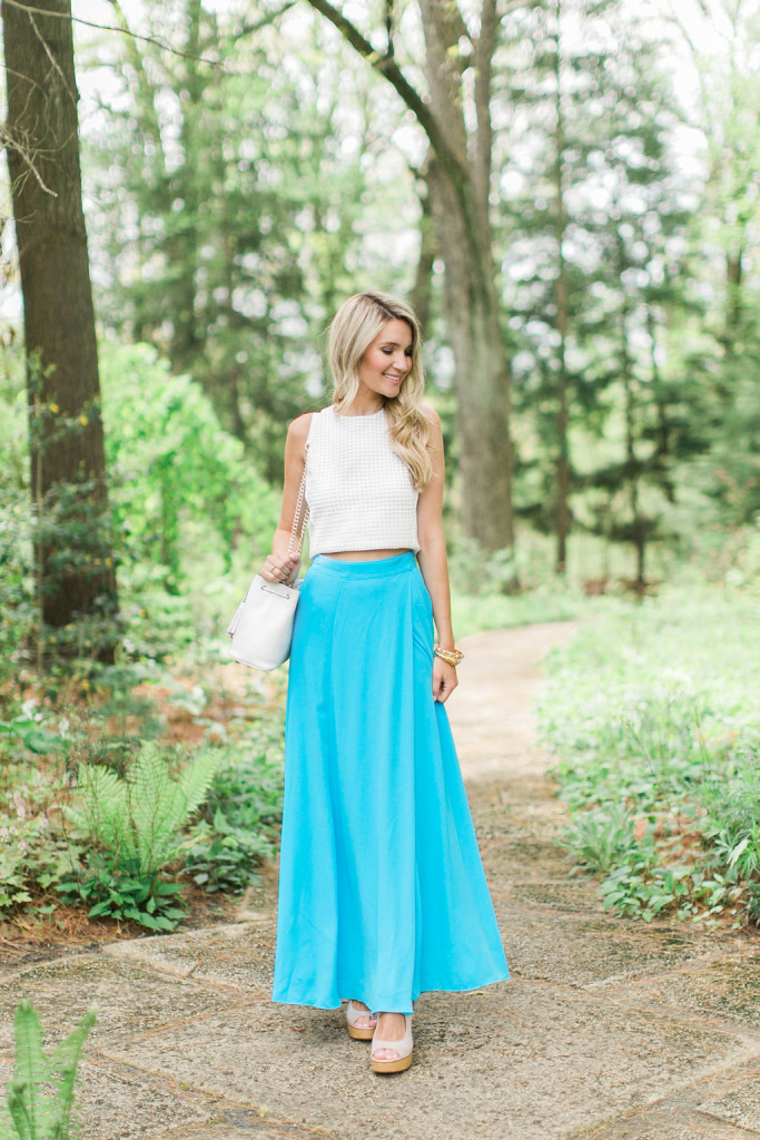 New York And Company Blue Maxi Skirt