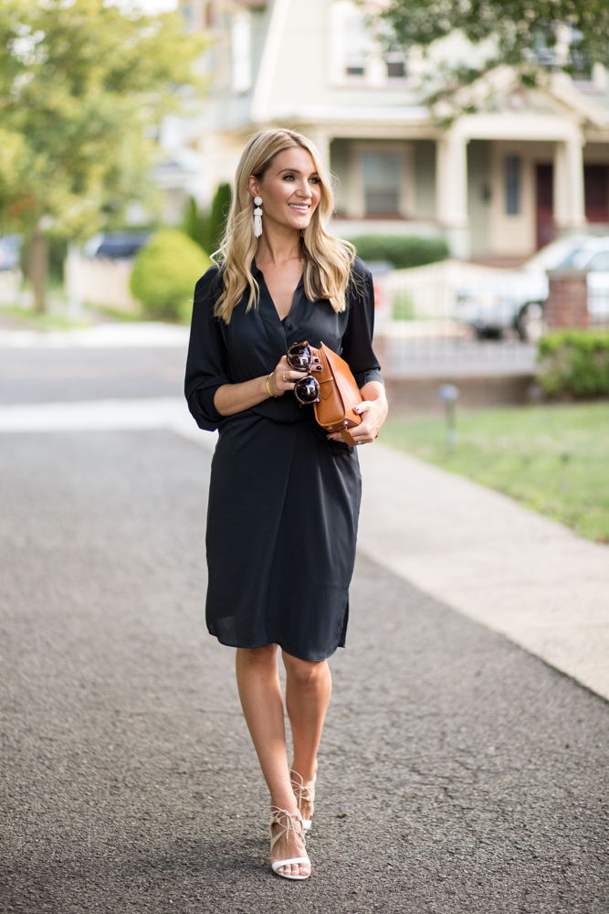 Midi black tie dress