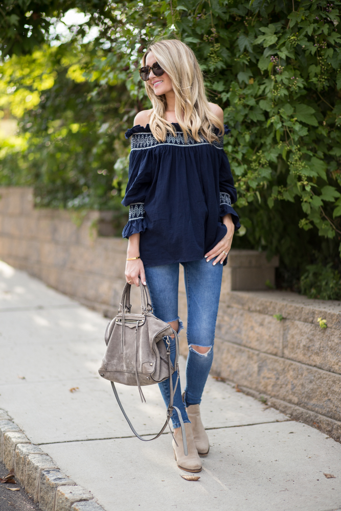Navy Off The Shoulder Long Sleeve Top