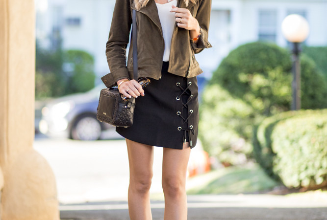 Chic Wish Lace Up Tie Skirt