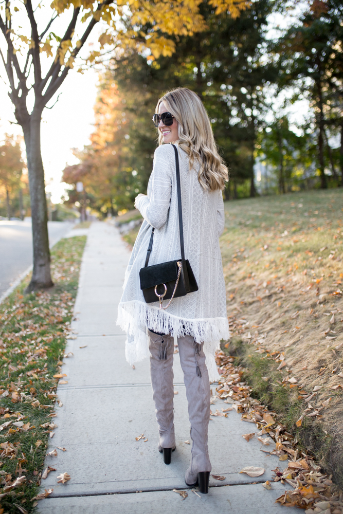 Gray Over the Knee Boots