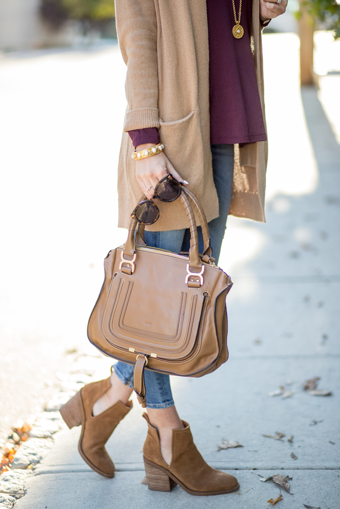 2f3bbdccf6 Tan Cardigan + Side Cutout Booties