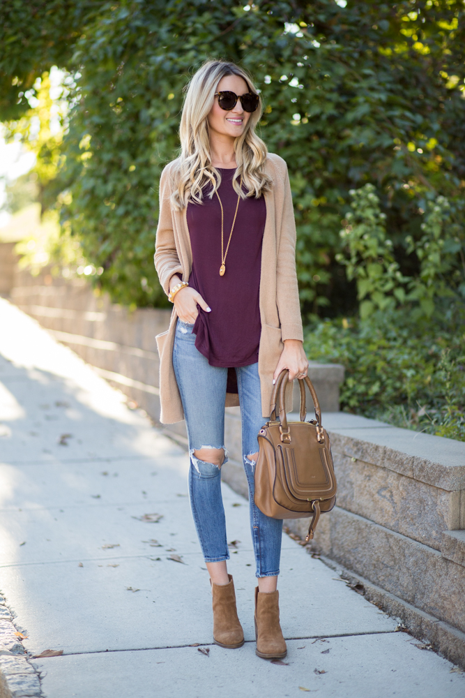 Tan cardigan side cutout booties blonde expeditions for What color shirt goes with a purple skirt