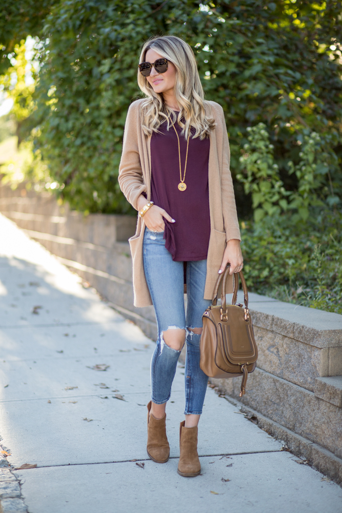 Tan Cardigan + Side Cutout Booties