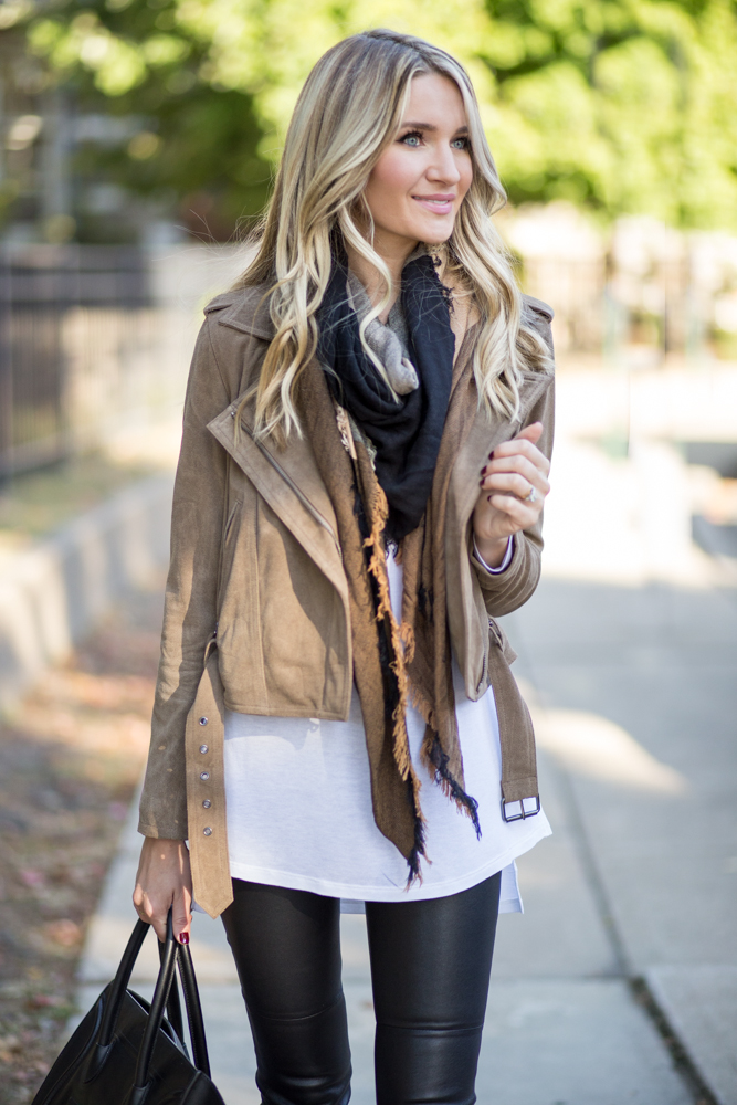 Moto Jacket with Scarf