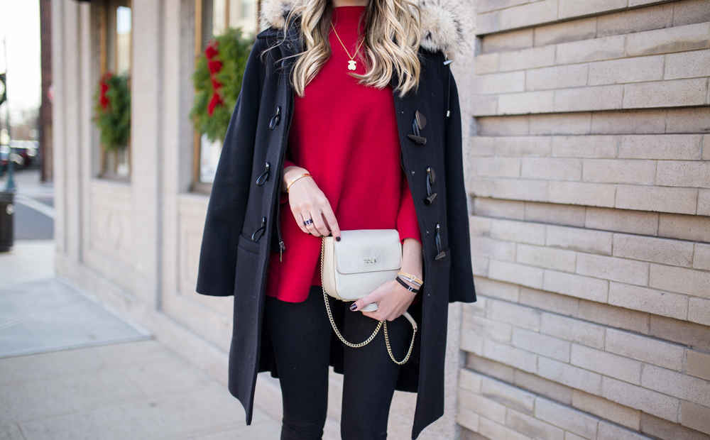 Red Mock Neck Sweater Blonde Expeditions