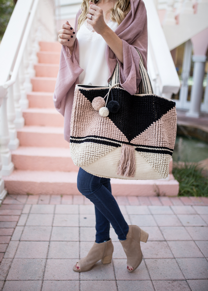 Women Fringe Pink and Black Bag
