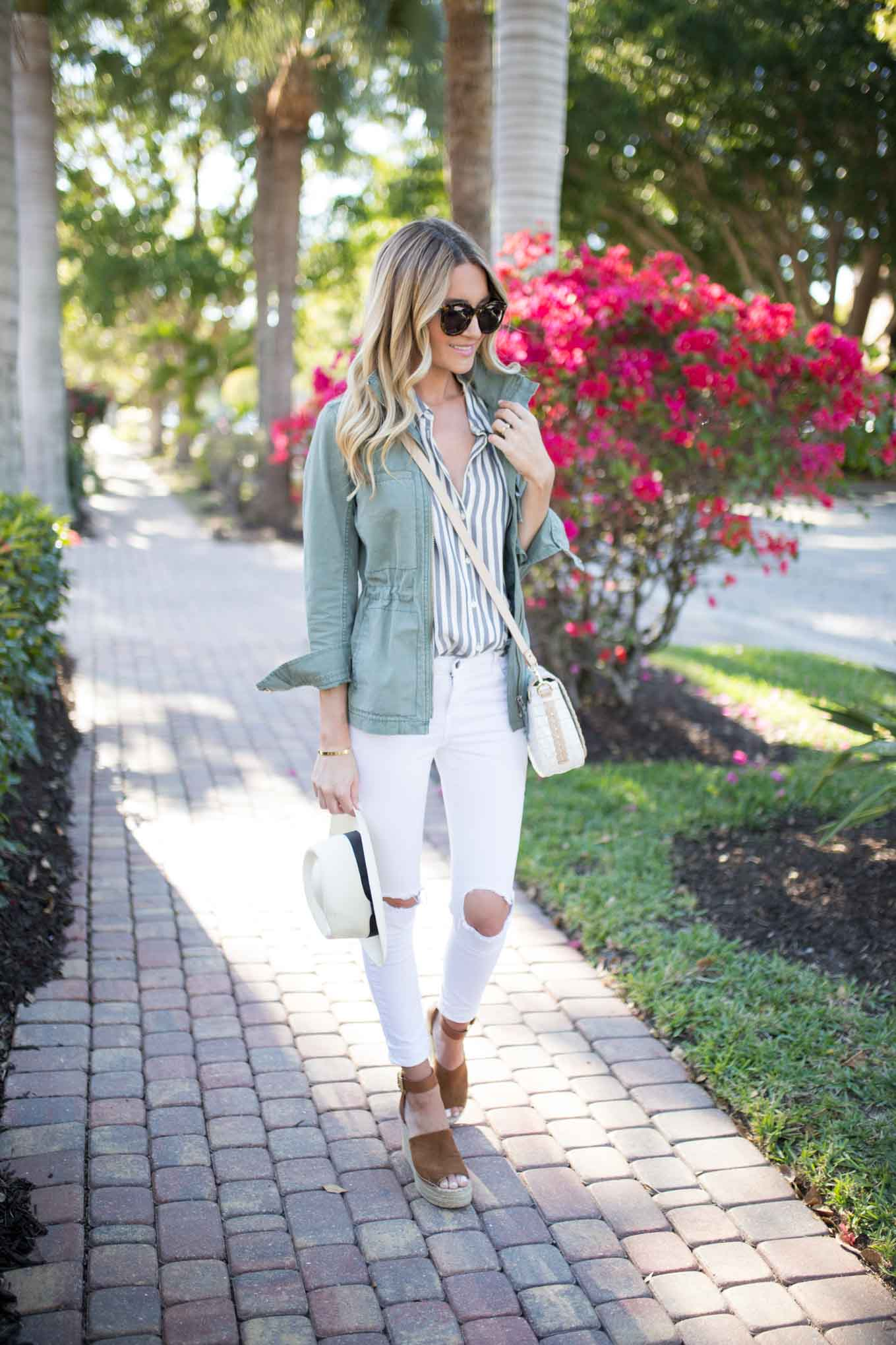 Striped Button Down Olive Jacket