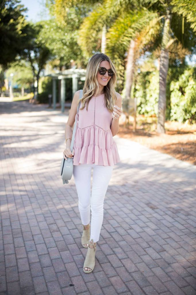 Blush Tank with White Denim