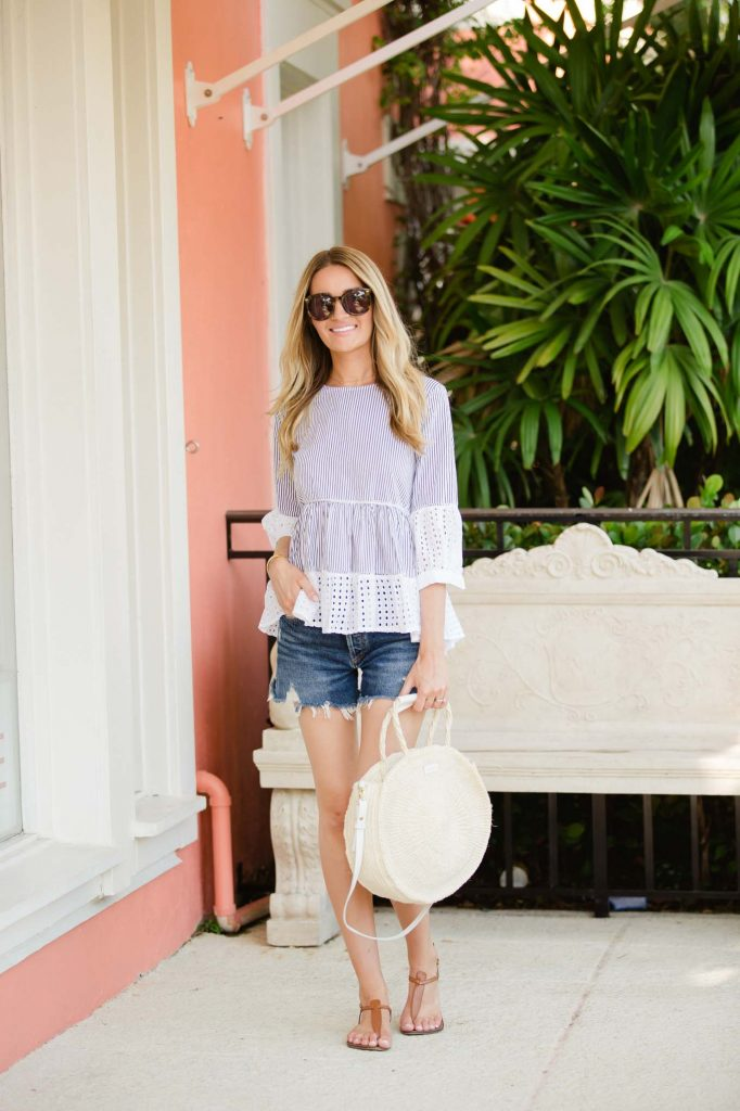 Striped Eyelet Peplum