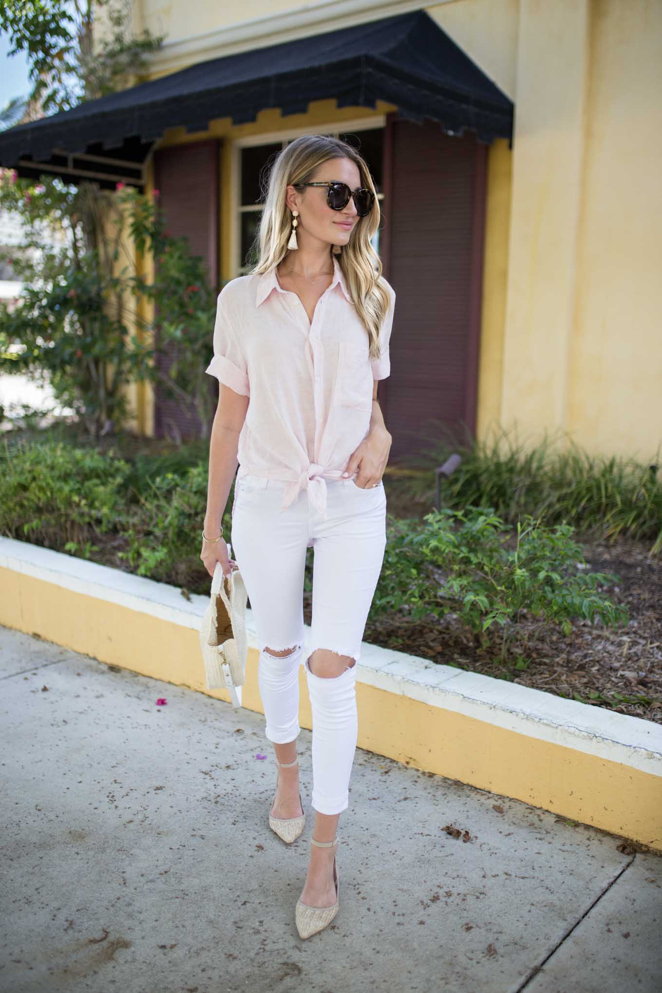 Linen Pink Button Down
