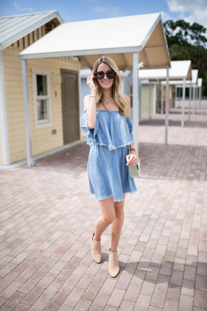 Elan Off the Shoulder Denim Dress