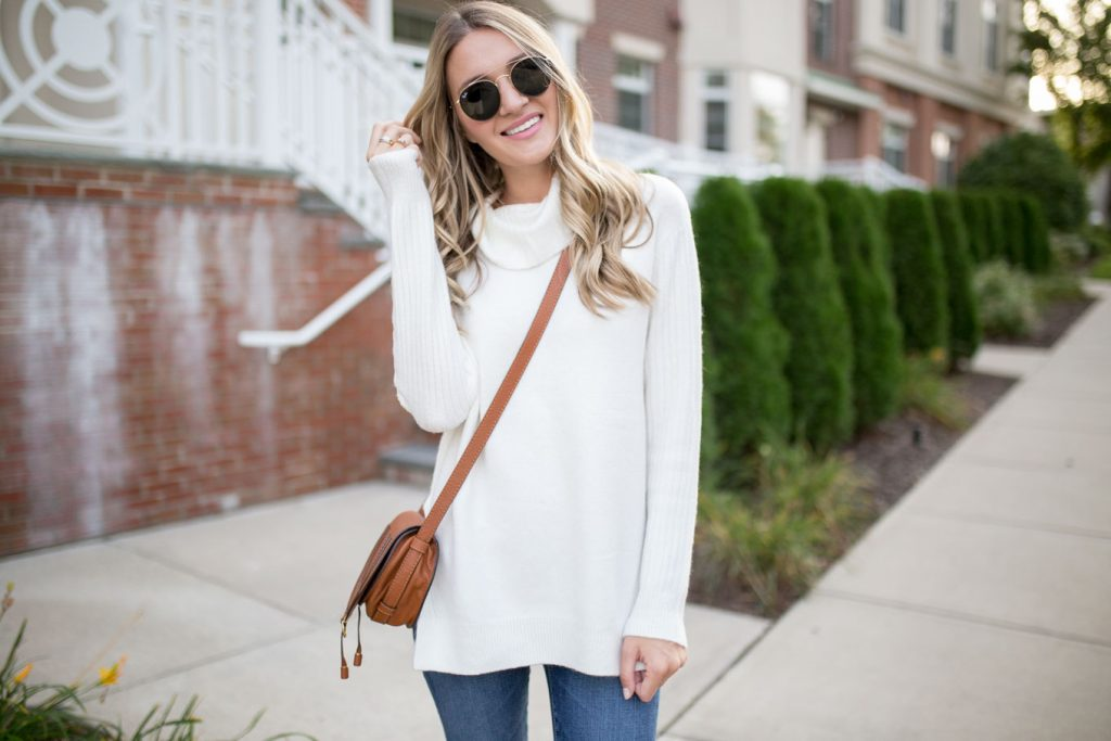 White Cowl Turtleneck