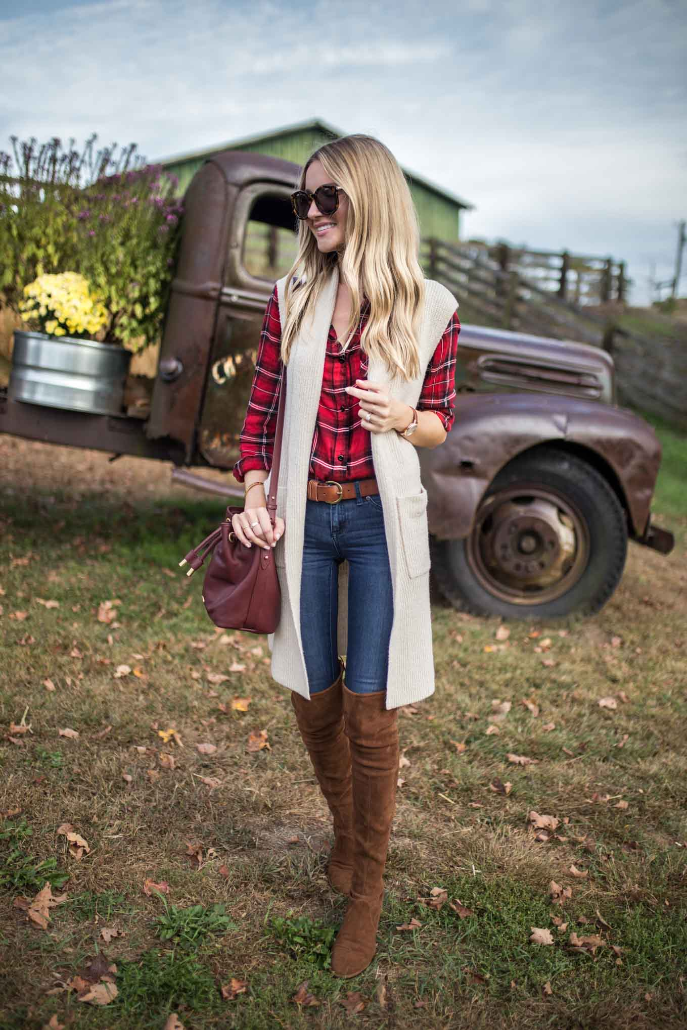 Plaid Top and White Vest