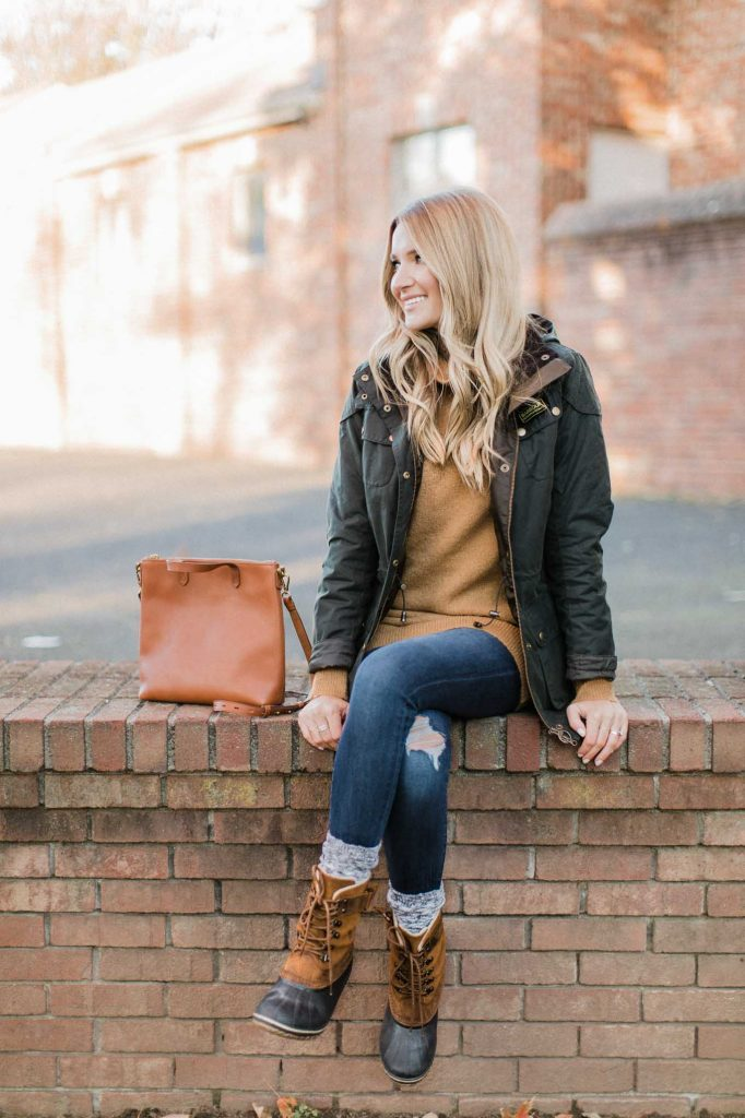 Barbour Green Parka Outfit