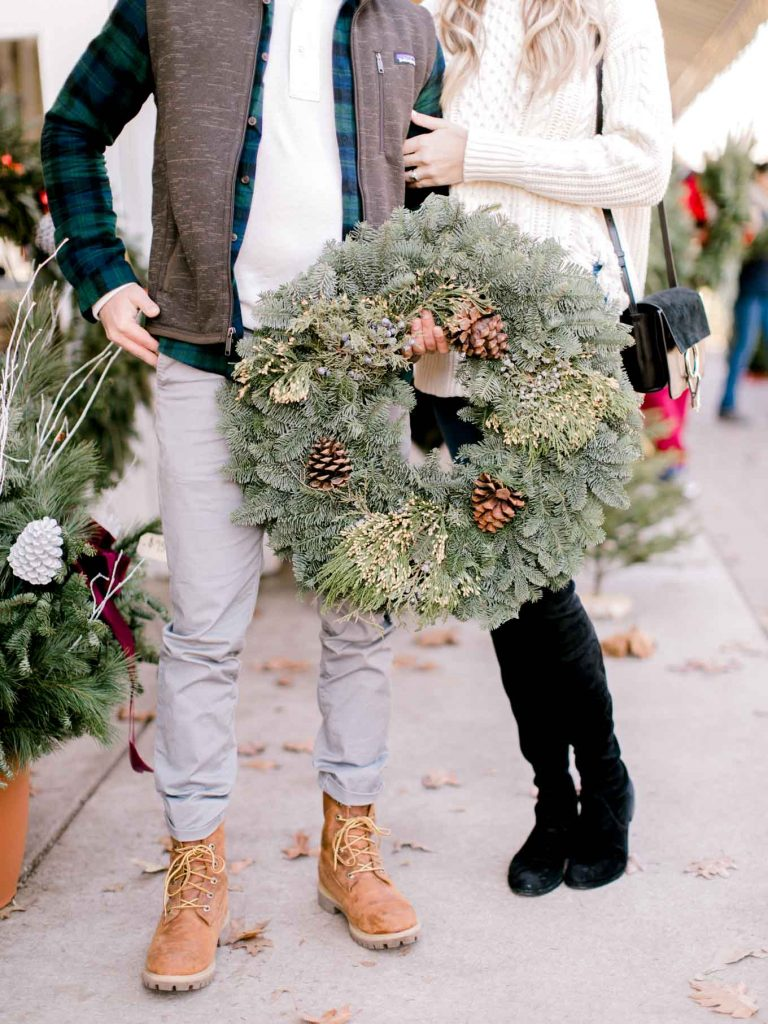 Holiday Wreath Couples Look