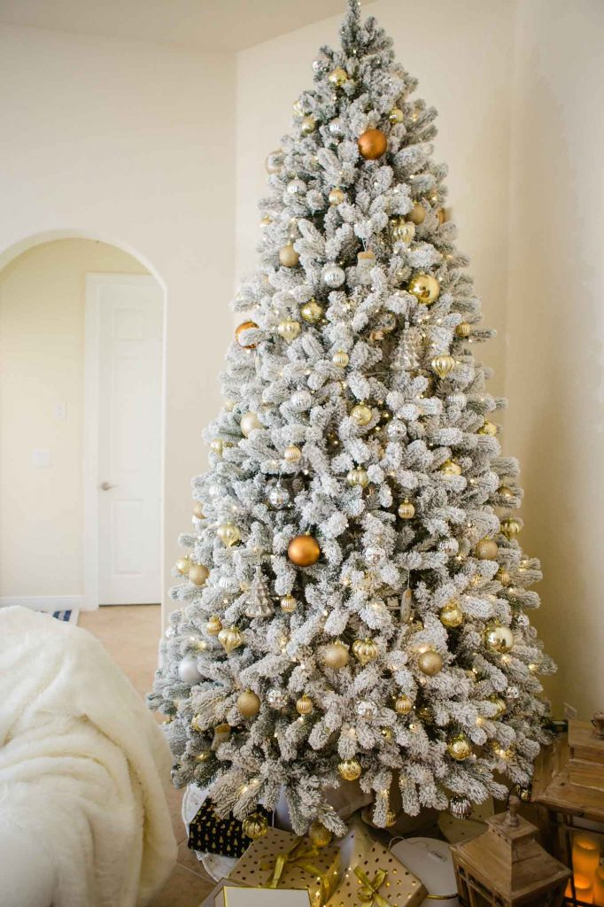 neutral flocked Christmas tree