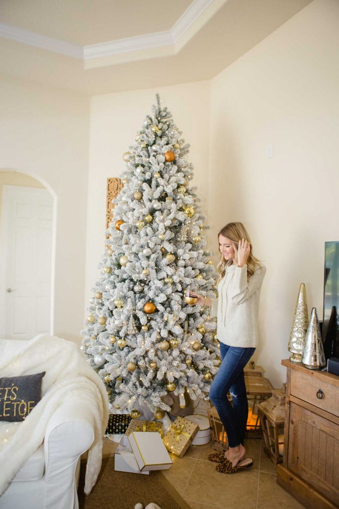 neutral flocked tree
