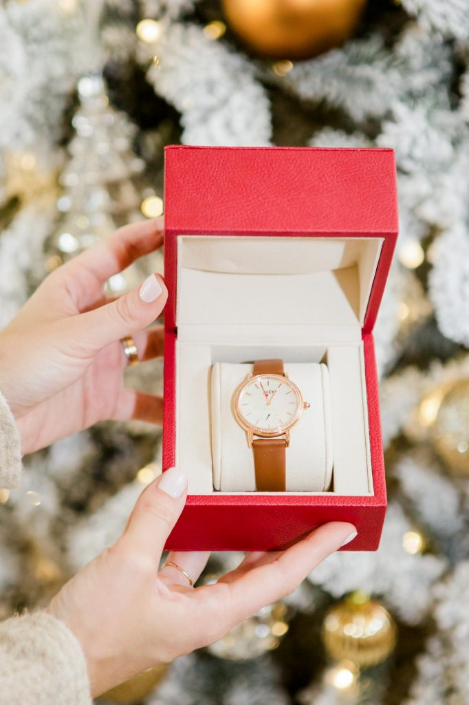 leather rose gold watch