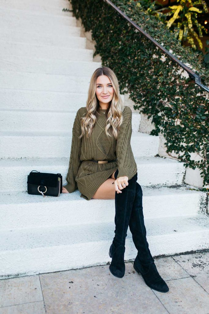 casual cable knit olive dress