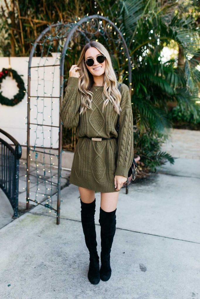 olive sweater dress blonde expeditions