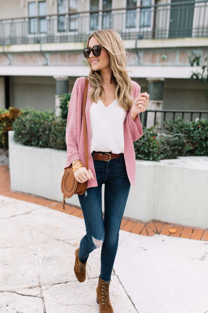 brown and pink outfit
