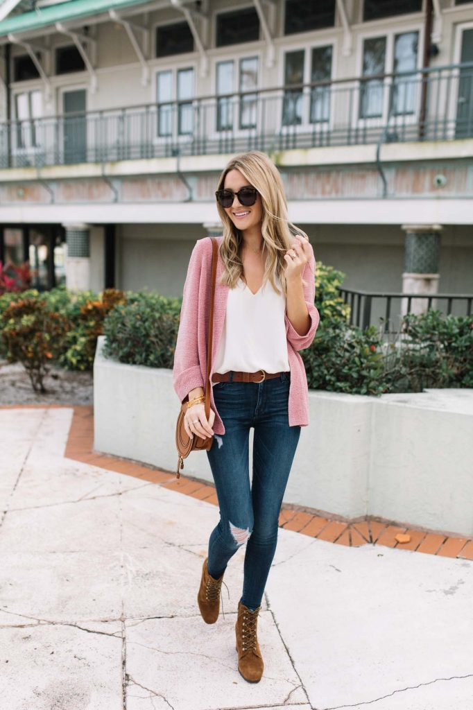 pink cardigan with denim