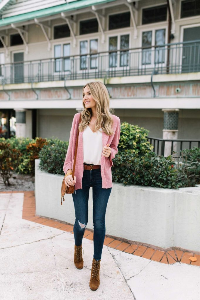 pink bell sleeve cardigan