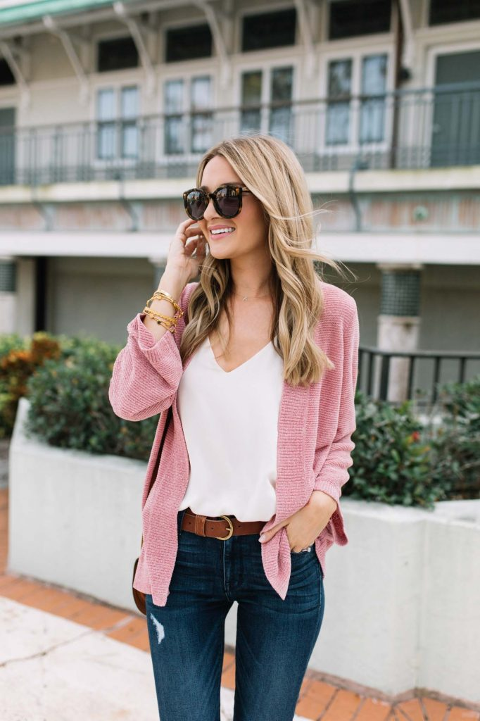 white cami pink sweater