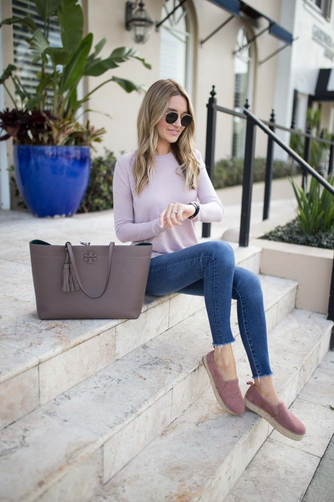 Pink Espadrilles and sweater