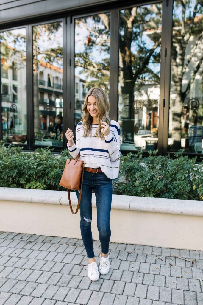 Spring Casual Pullover with sneakers