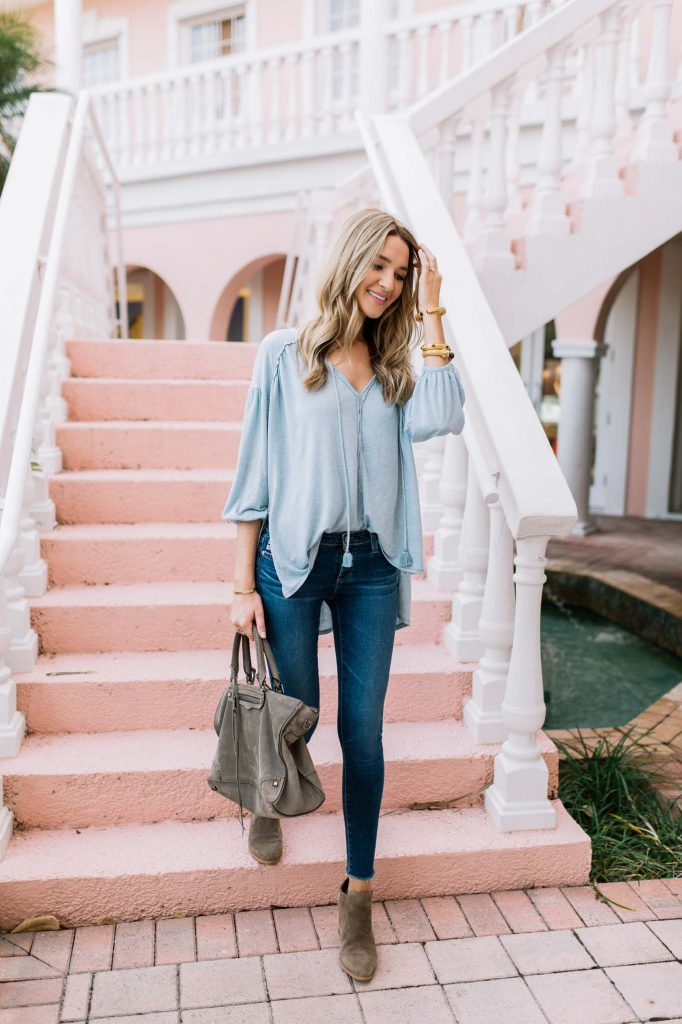 light blue henley top
