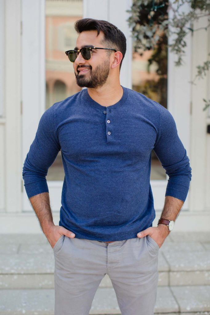Navy Sweater Henley