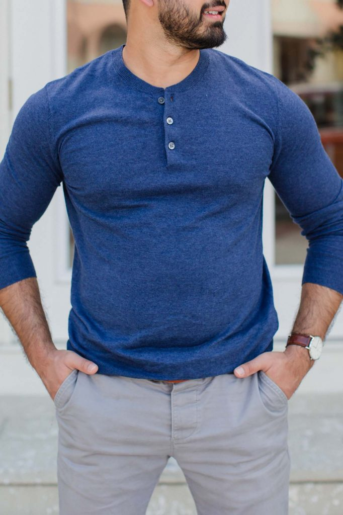 Blue Henley sweater