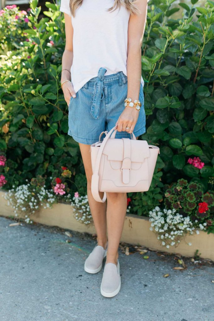 Denim Shorts with slide on sneakers