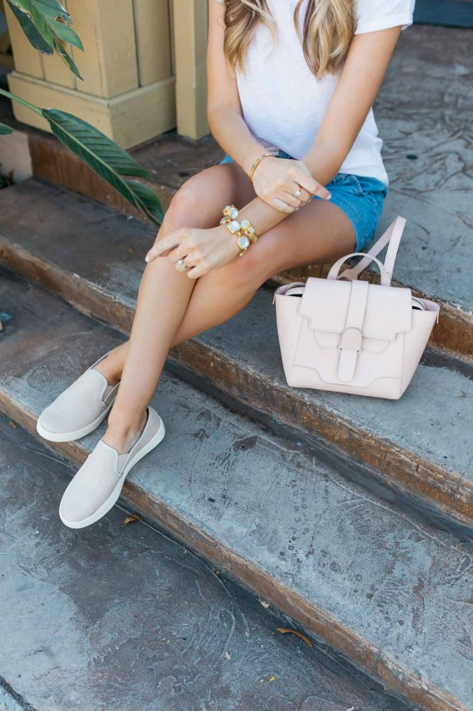 Blush Pink Slide On Sneakers and Pink Bag