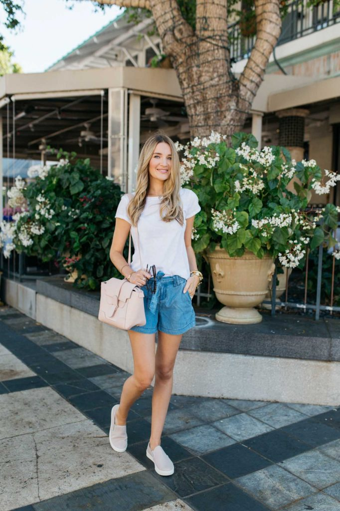 Casual White Tee with Denim Shorts outfit