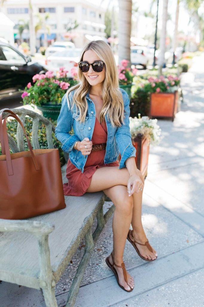 Red Linen Romper with brown tote
