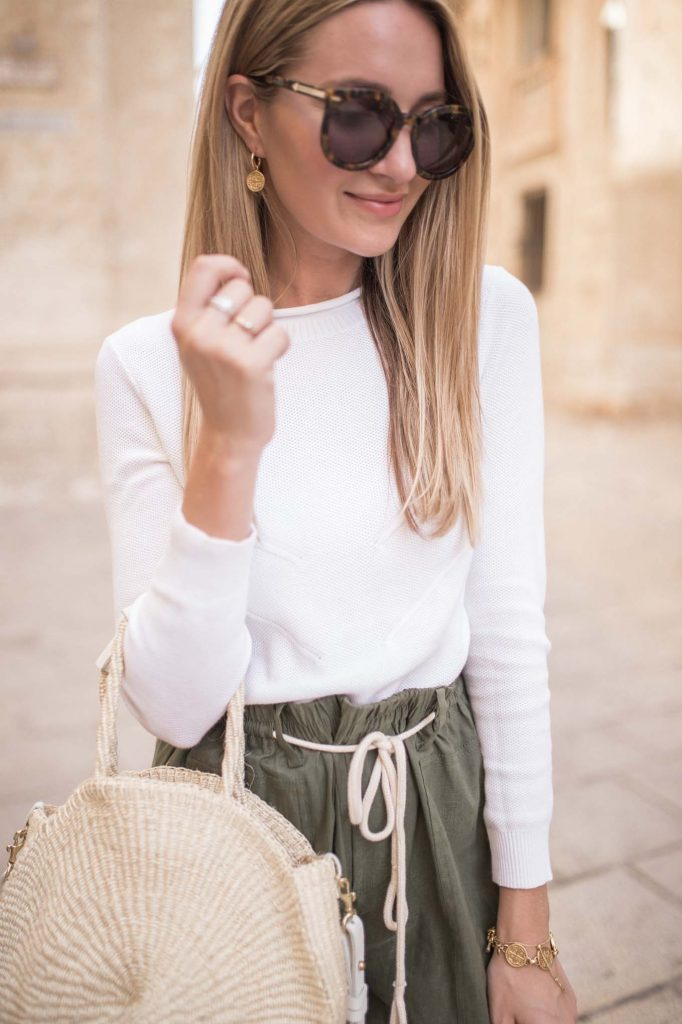 White sweater with Olive Shorts