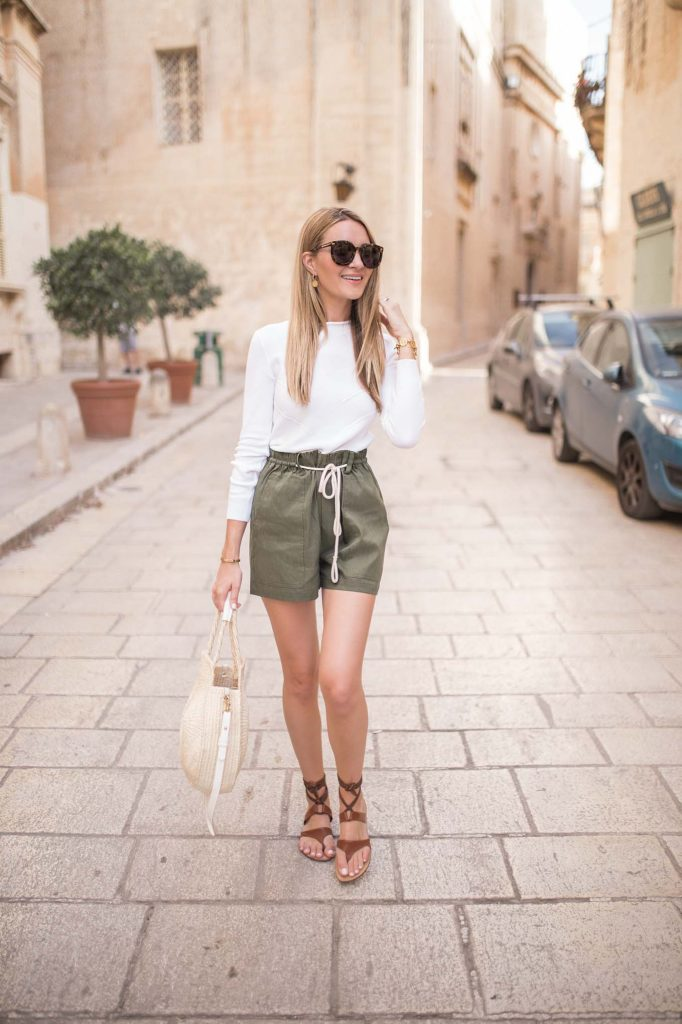 Olive Linen Tie Shorts