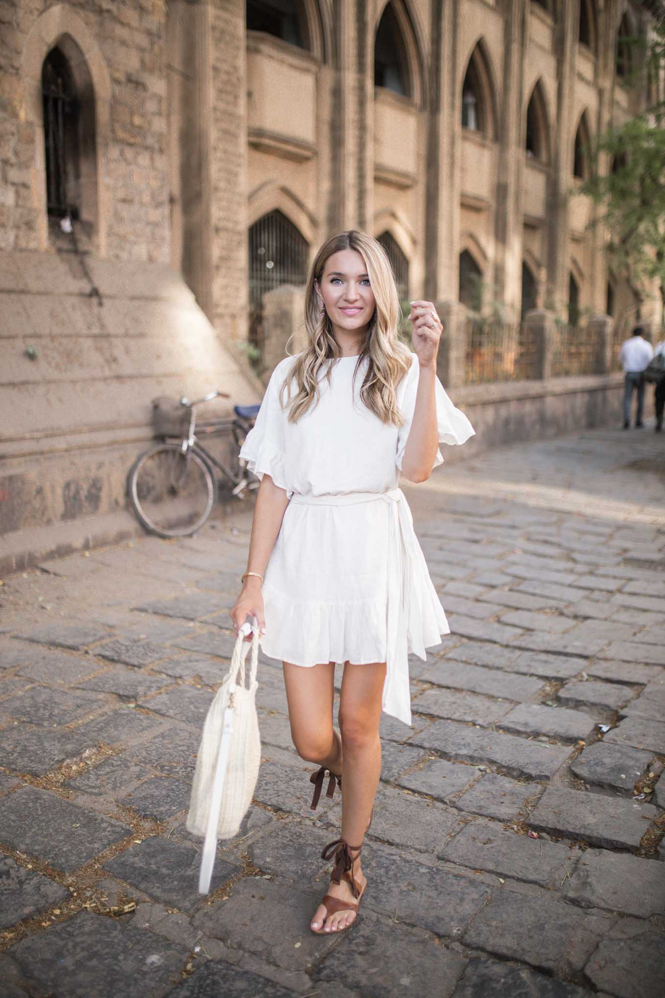 white ruffle linen dress