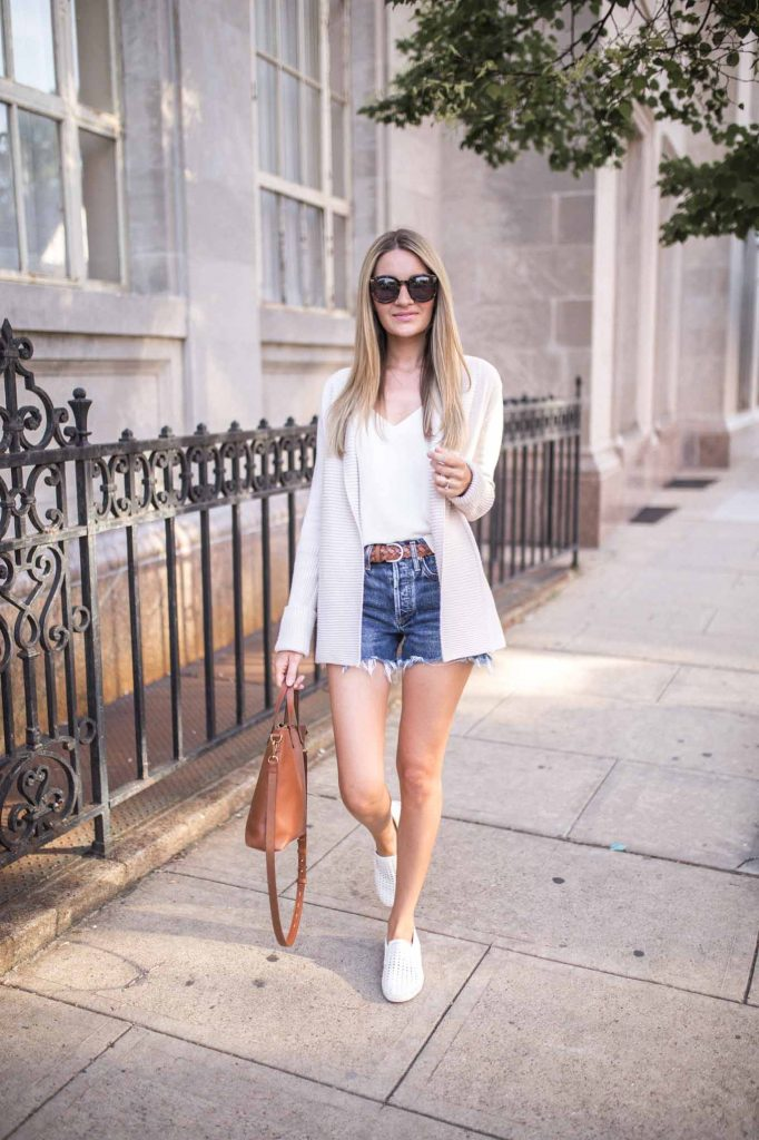 cardigan with sneakers and shorts