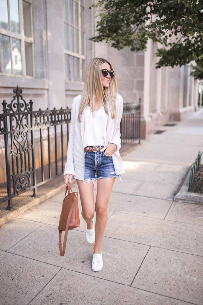 shorts with cardigan
