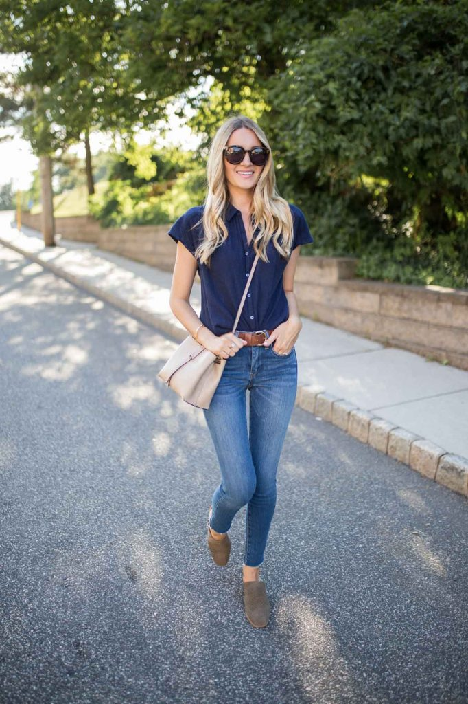 Navy top with casual staples
