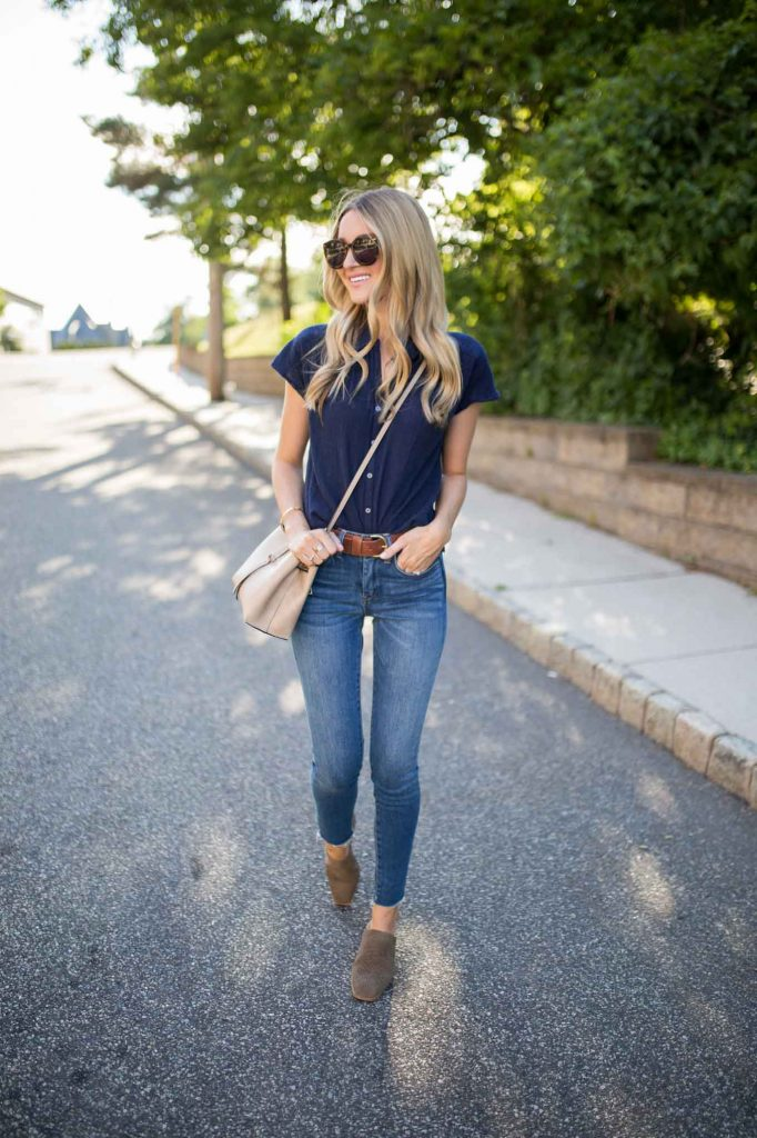 Navy button down with denim