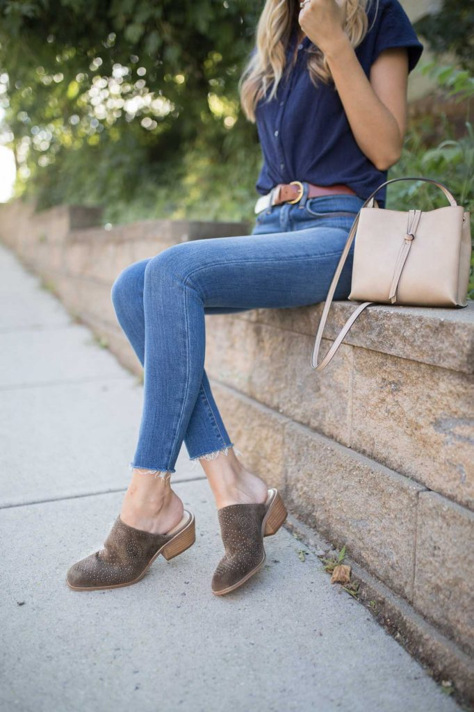 olive booties with neutral bag