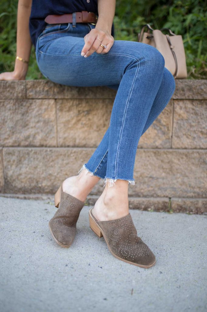 studded olive booties with denim