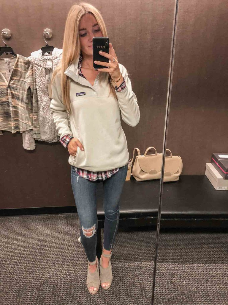 Pullover with plaid top