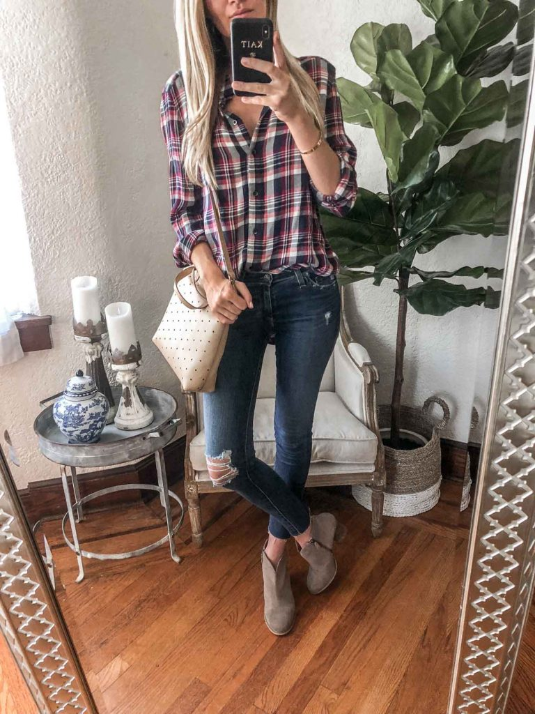 plaid top and distressed denim